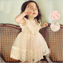 WENDYWU 2017 Summer Cute Lace Baby Girls Dress Korean Style Trendy And Retro Princess Clothes Kids Children's Costume Clothing