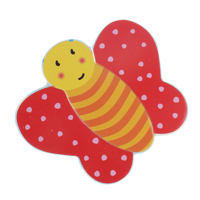 Cute Butterfly Wooden Jigsaw Educational Developmental Baby Kids Training Brain Amusing Puzzle Toy High Quality