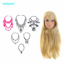 "High Quality 1 Pcs Doll Head Golden Straight Hair With Metallic Earrings + 6 Pcs Plastic Necklaces DIY Accessories For 12"" Doll(China)"