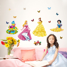 Decorative removable cheap baby bedroom 3d princess wall stickers home decor adhesive nursery wall decals