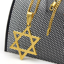 Gold color Classic Jewish Star of David Pendant Necklace w/3mm 24 Inch men Miami Cuban Chain Hip hop Necklace(China)