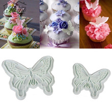 2pcs/Set Butterfly Cookie Plunger Cutters Mold Cake Fondant Decorating Mould Dough Ice Pastry Slicer Baking Tools Wedding Decor(China)