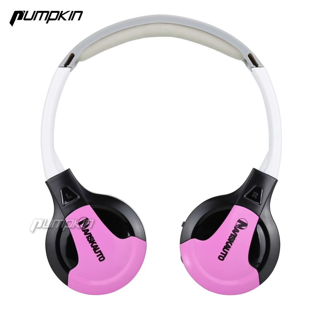 Pumpkin Pink Infrared Stereo Wireless Headphones Dual channel IR Cordless Earphone for Car roof DVD or Headrest DVD player(China)