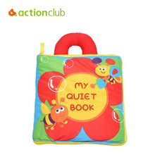 Actionclub Baby Cloth Quiet Book Baby Toys Infant Fabric Activity Book Soft Cloth Cartoon Flower Figure Coloring Books Vtech
