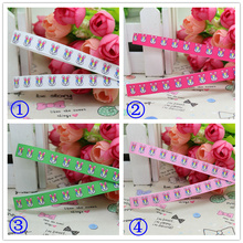 3/8'' Free shipping Easter rabbit you pick color printed grosgrain ribbon hairbow diy party decoration wholesale OEM 9mm P2056(China)