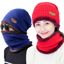 2017 new autumn winter knit plush thick warm men women beanie+scarf sets boys girls wear cap collars adult accessories hats(China)