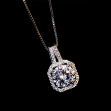 Fashion AAA Square C Zircon with Rhinestone Pendant Charms Fine Thin Clavicle Chains Necklace for Women Fashion Jewelry