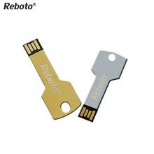 Newest Mini metal Aluminium key shape USB flash drive 4GB 8GB 16GB 32GB 64GB usb memory stick Pendrive Flash Drive(China)