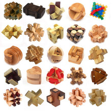5PCS New Wooden Toys Classic IQ 3D Wooden Interlocking Burr Puzzles Mind Brain Teaser Game Toy for Adults Children(China)