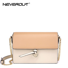 NeverOut Luxury Brand Women Flap Shoulder Sac Split Leather Bag Solid Fashion Crossbody Bag Brand Name Ladies Messenger Bags(China)