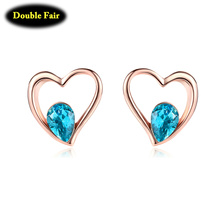 Simple Romantic Cute Heart Blue Rhinestone Rose Gold Color Metal Stud Earring For Girls/Women Party Brand Jewelry DWE318
