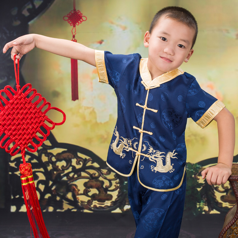 Summer New Arrival Baby Boys Short Sleeve  Gorgeous Embroidered Children Ancient Chinese Costume Joyous Performing Clothes Set<br><br>Aliexpress