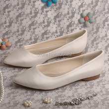 Wedopus Hot Selling Pointed Toe Flat Bridal Shoes Ivory Satin Women Shoes Dropshipping(China)