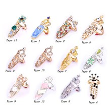 Fashion Elegant Bowknot Crown Crystal Finger Nail Art Ring Jewelry Fake Nail exquisite Jewelry for Women Girl