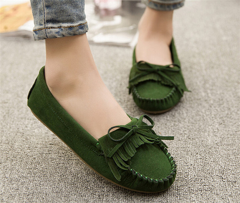 Women Suede Flat Shoes Mother Shoes Tassel Flats Moccasins Sapatos Femininos ladies Causal boat Driving shoes ballet flats women<br><br>Aliexpress