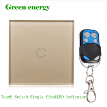 MiniTiger EU Standard touch Switch+Single Fire, Y601-02,Wall Switch, Golden Color Glass Panel, Wall Light Touch  Switch