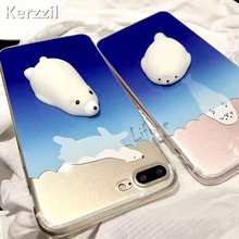 Kerzzil For iPhone 7 6 6s Plus Cover Cute Seal Polar bears Squeeze Soft Squishy Ocean Sea Soft Silicone Cases for iPhone 6 7 6S(China)