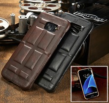 Mystic Retro Squares Leather Back Cover Phone Shell For Samsung Galaxy S7/G9300/G930A S7 Edge/G9350 Drop Resistance Mobile Case