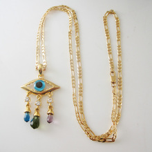 "Min order 10$ CAN MIX DESIGN / Top - YELLOW GOLD GP OVERLAY 24"" NECKLACE & EVIL EYE CRYSTAL CHRAM DANGLER PENDANT/ Great Gift"