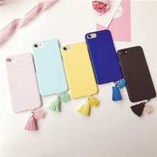 Ultra Slim Case For iphone 7 6s Cover For iPhone 6 6s 7 Plus Candy Color Matte Hard PC Plastic Phone Cases with Tassel Fringe