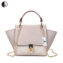 New Patchwork Women Brand Design Inspire Shoulder Bag Trapeze Big Ears Smiley Swing Tricolor Lock Chains Handbag BH500