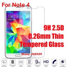 Best Cheap 9H Hard 2.5D 0.26mm Phone Cell Accessories Glass Screen Protector For Samsung Galaxy Note 4 N910F N910 N9100