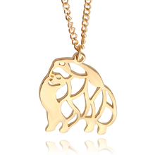 Cute Puppy Dog Memorial Gift Pomeranian dog Animal Hollow Pendants Necklaces For Women Fashion Jewelry pet lovers gift(China)