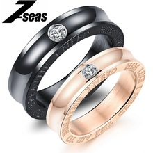 7SEAS 1 Pcs Price Romantic Cubic Zircon Couple Rings Luxury Rose Gold Color Stainless Steel Women Man Couple Jewelry Gift,JM494J(China)