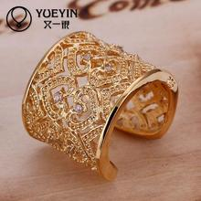 R107  yellow gold color ring inlaid stones heart shape big ring for men new design finger ring for lady