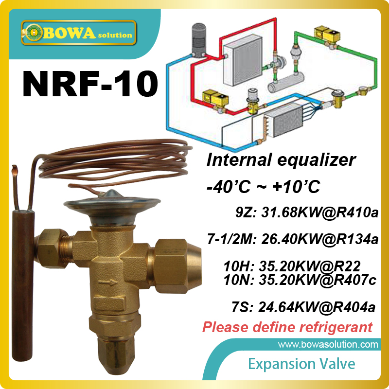 NRF-10 integrated TEV used for refrigerant flow control and operates at varying pressures resulting from varying temperatures<br>
