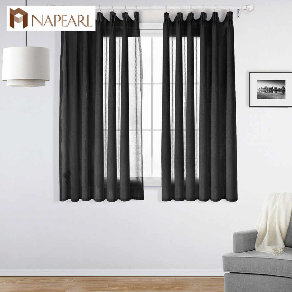 NAPEARL Short Curtains Solid Drops For Living Room All Match Tulle Sheer Kitchen Windows Transparent Fabric Modern Style Thread
