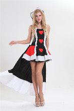 free shipping S-3XL queen of heart costume with crown fancy dress costume plus size halloween costume(China)
