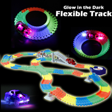 DIY Slot Create A Road Glow race track Bend Flex Glow in the Dark Assembly Toy Flexible Track 166/225PCS with 5 Led light cars(China)