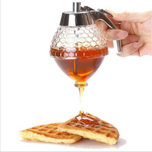 Hot Creative Home Acrylic Honey Pot Push Pure Natural Honey Spice Jar Biscuit Bread honey spoon Jam Bottle honey dipper(China)