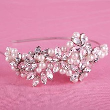 New Women Tiara Luxury Bridal Headband Handmade Headdress Pearl Flower Jewelry Wedding Crowns Hair Accessories SL
