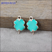 High Quality 10 Pieces/Lot 22mm*14mm UV Gold Color Enamel Four Leaf Clover Charms Pendants
