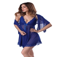 Purple Blue Black White Red Sexy Lingerie Nighties Robe Lace Halter Slip Night Sleep Dress Plus Size Mesh Nightgowns Women Shawl