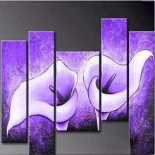 Hand-painted Modern Oil Painting Wall Art Beautiful Lily Flowers Decoration Abstract Landscape Purple Painting On Canvas
