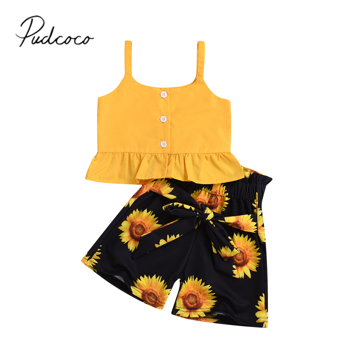 Summer Kid Baby Girl Sunflower Backless Party Pageant Dress Casual Sundress 1-6Y