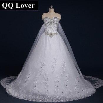 QQ Lover 2017 New Bandage Tube Top Crystal Lace Sweetheart Luxury Wedding Dress Big Train Wedding Gown Vestido De Noiva