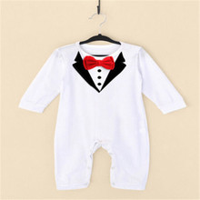 Fashion Toddlder Newbore Baby Boy Formal Suit Party Wedding Tuxedo Gentleman Short Sleeve Romper Jumpsuit Outfit Clothes Wear(China)