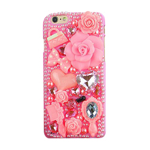 2016 Luxury manual flare pink rose pearl diamond crystal comb mirror bow handbag perfume cell phone case cover skin For Iphone
