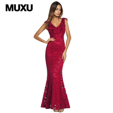 Buy MUXU sexy red lace dress vestido women clothing patchwork vestidos clothes women robe longue long dress robe femme black for $33.05 in AliExpress store