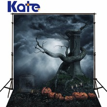 5x7ft Kate Dark Grey Terror Halloween Photography Backgrounds Pumpkin Grave Trunk Photo Backdrops for Children Photo Studio