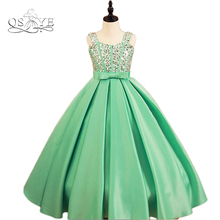 New Ball Gown Flower Girl Dresses Spaghetti Straps Sweetheart Crystal Bow Sash Floor Length Satin Girl Prom Dress Party Gown(China)