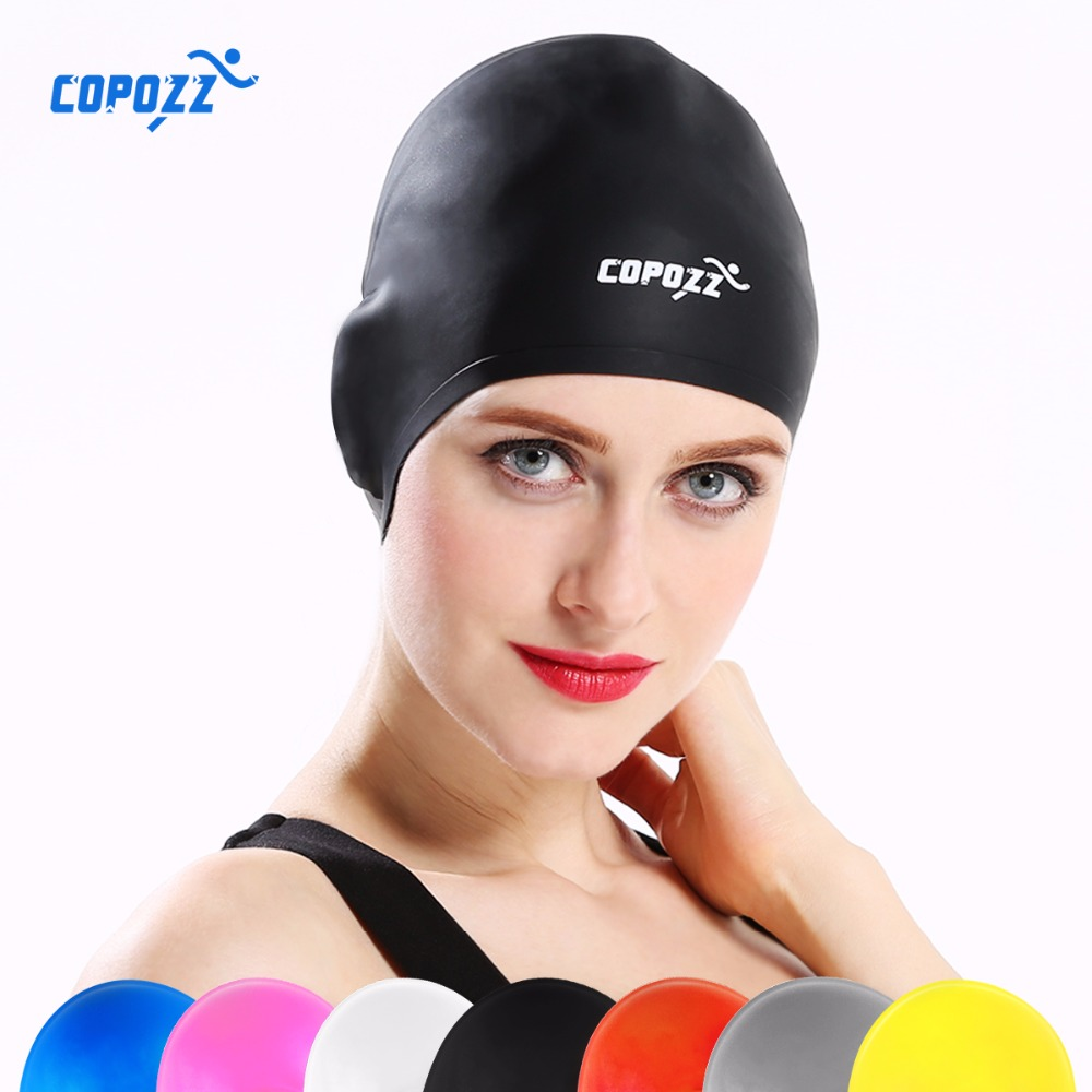 COPOZZ Silicone Waterproof 3D Swimming Caps for Men Women Long Hair Swimming Hat Cover Ear Bone Pool(China (Mainland))