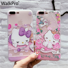 WalkPro Hello Kitty Phone cases for iphone 7 6 6s plus case 3D relief flower TPU silicone soft cover 5 5S SE 6plus 7plus back