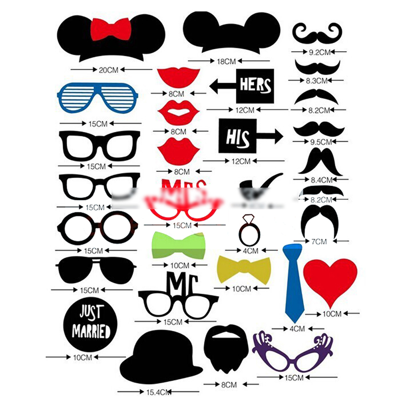 DIY 31PCS Masks Photo Booth Props Mustache Stick Wedding Birthday Party<br><br>Aliexpress