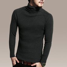 winter pullover sweater men 2016 100% cotton elastic turtleneck knitwear pullover computer knitted sweater men brand clothing(China (Mainland))