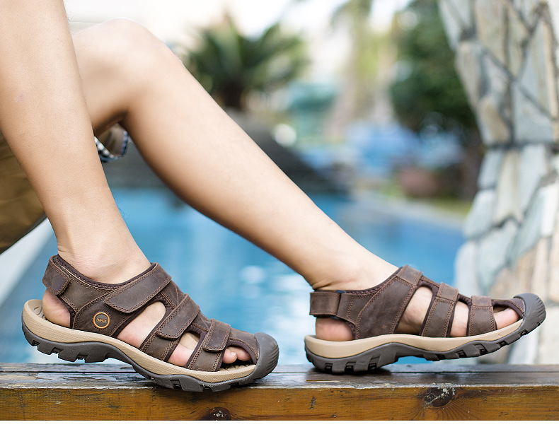 Summer Man Sandals Beach Shoes 2018 High Quality Genuine Leather Prevent Slippery Wear-resisting Outdoor Sandals Large Size 46 21 Online shopping Bangladesh